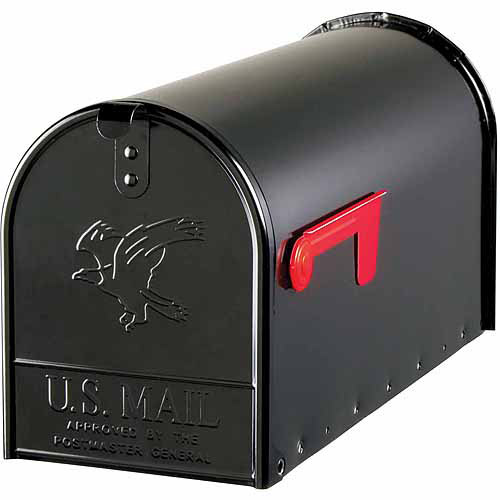 Solar Group Inc E16B Large Galvanized Steel Black Rural Size Mailbox