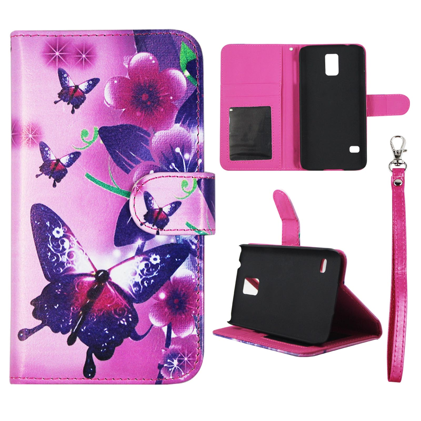 Butterfly Flower Pink Wallet Folio Case for Samsung Galaxy S5 V i9600 Fashion Flip PU Leather Cover Card Slots & Stand