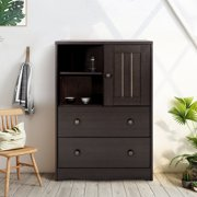 Lowestbest Kitchen Storage Cabinet Sideboard Buffet Cupboard, Storage Bedside Cabine, Wood Sliding Door Pantry, Wine Cupboard with Door