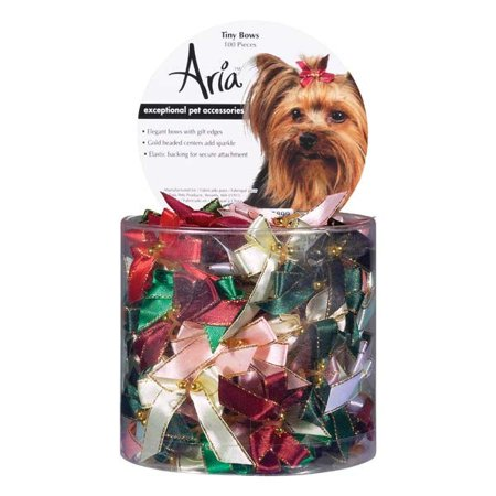 Aria Tiny Bows With Gold Bead Canister 100pc