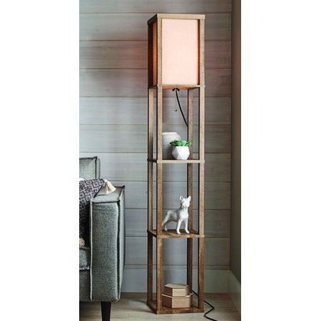 Better Homes and Gardens Crossmill Shelf Floor Lamp with LED Bulb Included Arm Led Floor Lamp