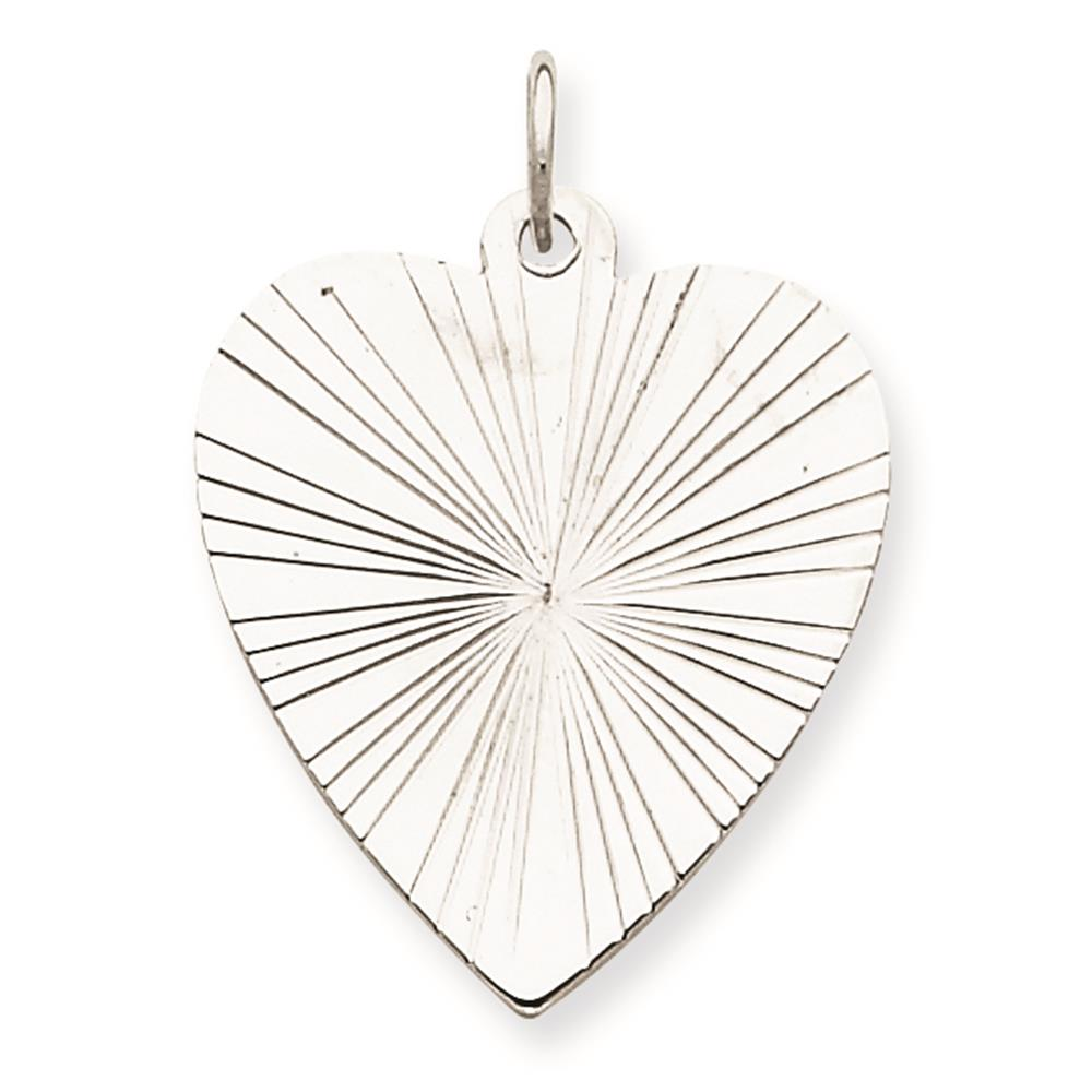 925 Sterling Silver Engravable Polished Heart Disc Charm Pendant