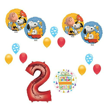 Charlie brown and Snoopy Peanuts 2nd Birthday Party Supplies and Balloon Bouquet Decorations
