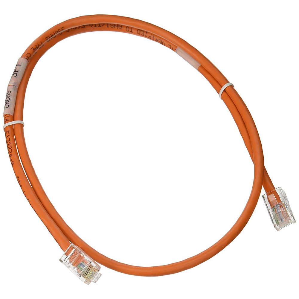 C2G 24494 Cat5E Non-Booted Unshielded (UTP) Network Crossover Patch Cable, Orange (3 Feet/0.91 Meters)