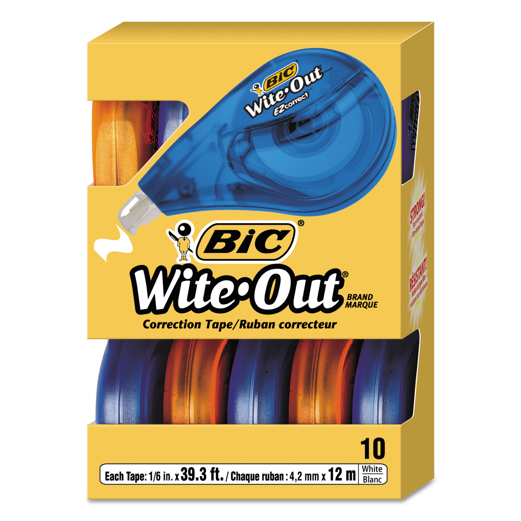 "Bic Wite-Out EZ Correct Correction Tape, Non-Refillable, 1/6"" x 472"", 10-Count"