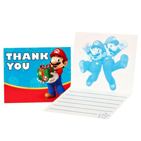 Mario Birthday Supplies (Super Mario Party Thank-You Notes,)
