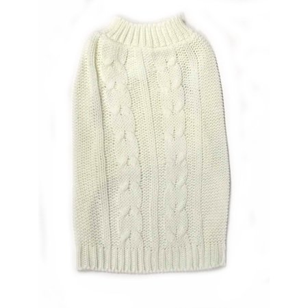 Midlee Cable Knit Dog Sweater (X-Large, Cream)