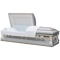 Overnight Caskets, Funeral Casket. Knight Silver With White Interior