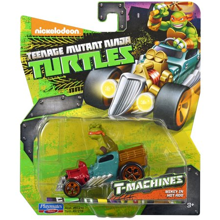 Teenage Mutant Ninja Turtles T-Machines Michelangelo in Hot Rod Diecast Vehicle - Michelangelo Nunchucks Toy