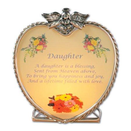 Daughter Candle Holder - Heart Shaped Glass Holder with an Inspiring Daughter Message - Heart Shaped Glasses