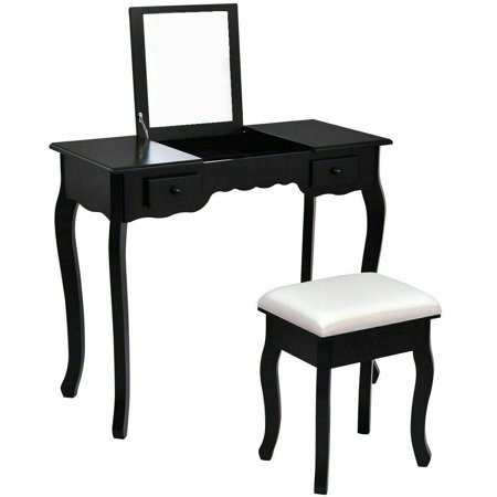 Gymax Bathroom Mirrored Vanity Set Make-up Dressring Table Stool Desk Furniture (Best Place To Find Bathroom Vanities)