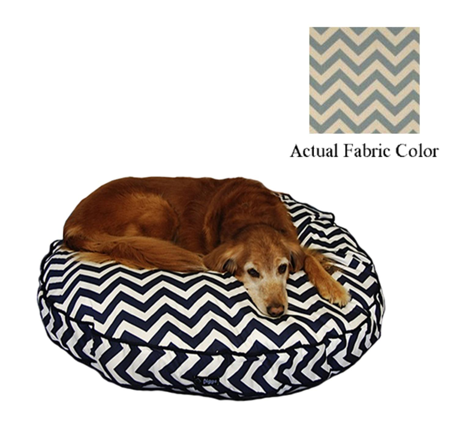 Blue and White Chevron Printed Deluxe Round Pet Dog Bed - Large