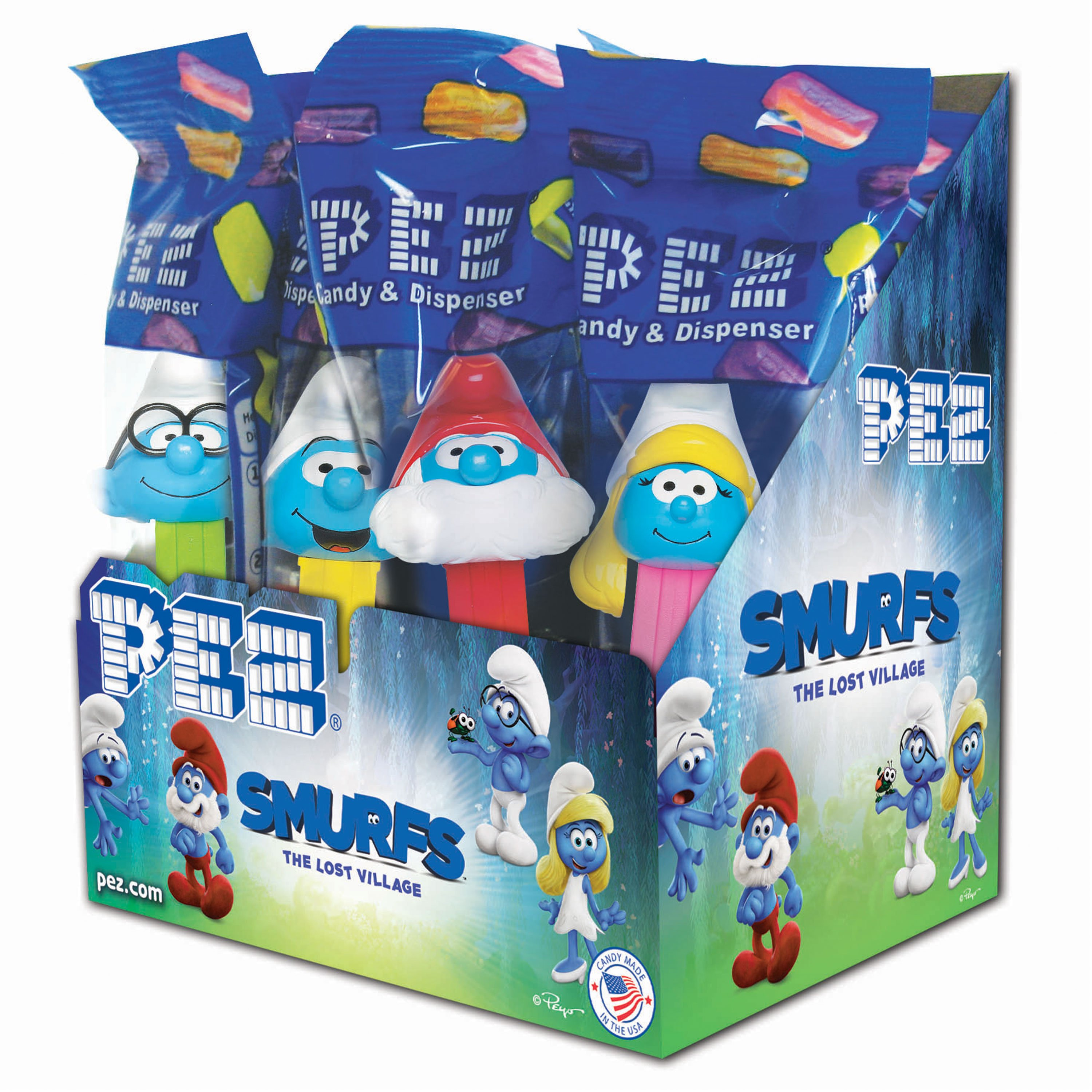 PEZ Candy Smurfs Assortment, candy dispenser plus 2 rolls of assorted fruit candy, box of 12