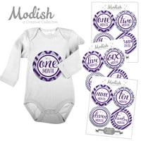 Modish Monthly Baby Stickers, Girl, Purple, Silver, Chevron, Stripes, Baby Photo Prop, Baby Shower Gift, Baby Book Keepsake