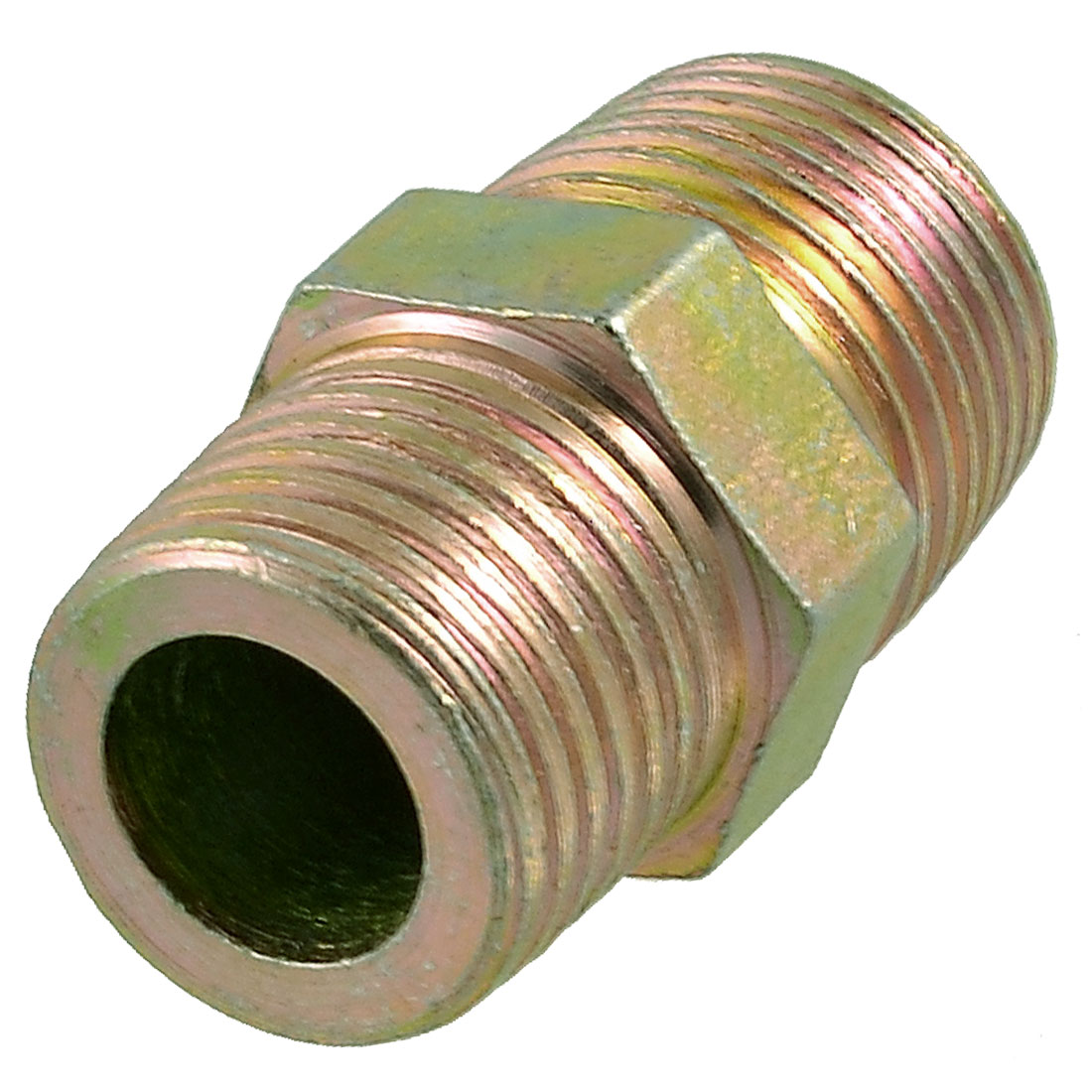 """Unique Bargains Brass Housing 1/2"""" PT Male Thread M/M Fitting Adapter Pipe Connector"""