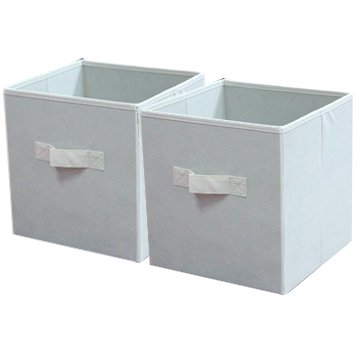 mainstays collapsible fabric storage cube set of 2 white 10 5 x10 5. Black Bedroom Furniture Sets. Home Design Ideas