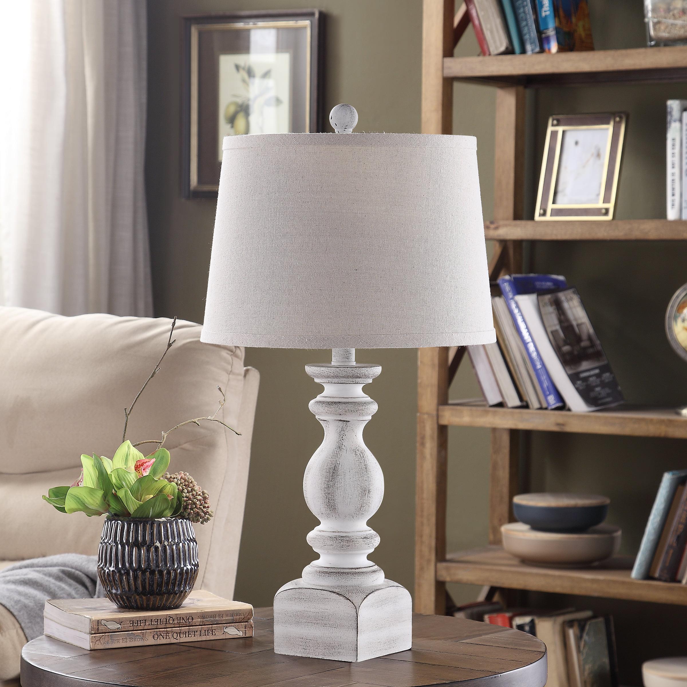 Sandhurst 25-inch Resin Tapered Drum Table Lamp, White - Walmart