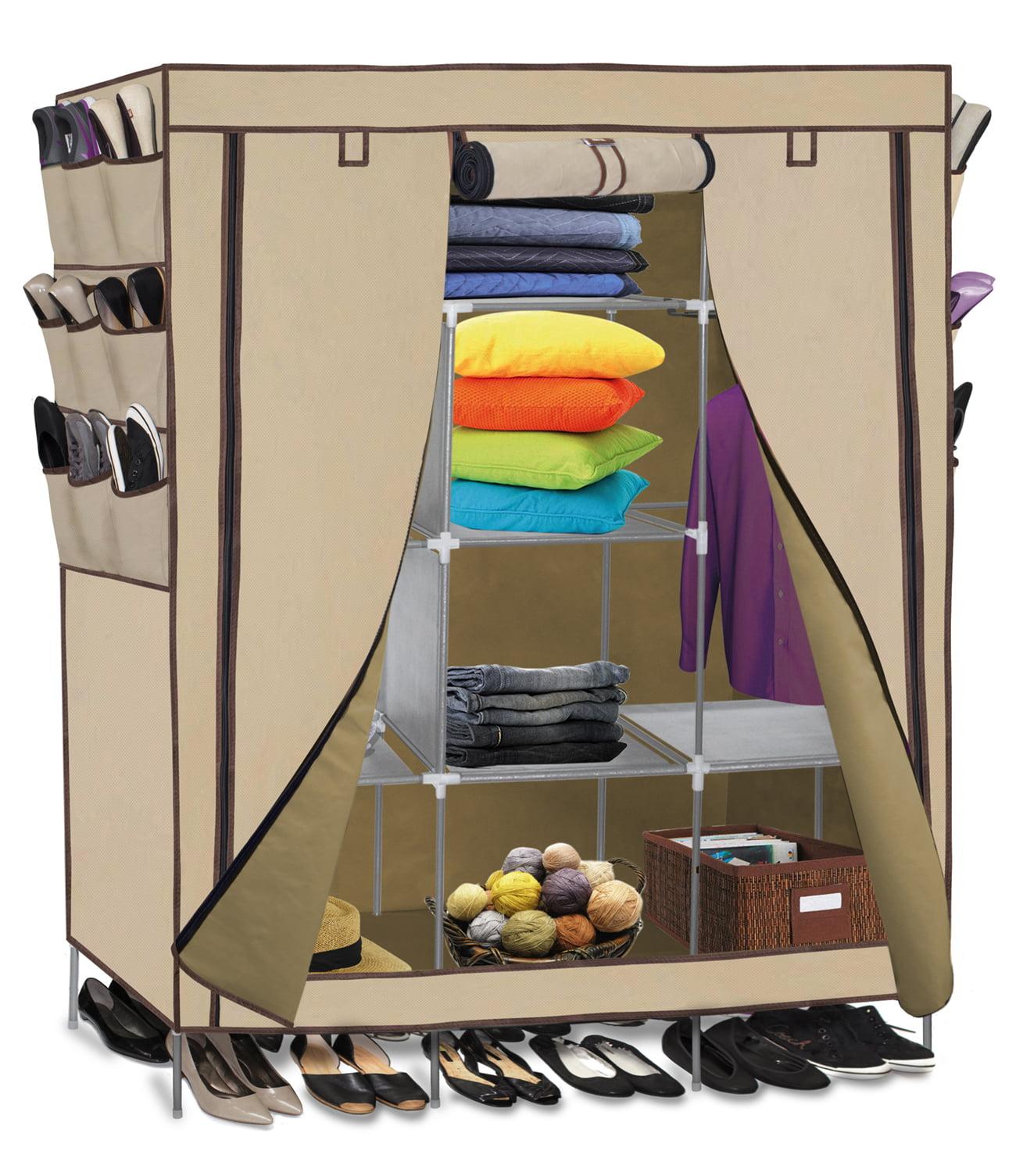 oxgord portable storage organizer wardrobe closet u0026 shoe rack shelves stainless steel frame