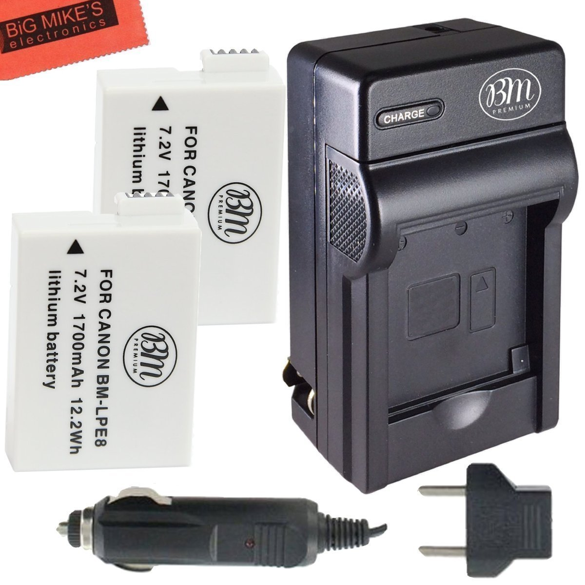 T5i T4i EOS 650D BM Premium 2-Pack of LP-E8 LPE8 Batteries and Dual Battery Charger Kit for Canon EOS Rebel T2i T3i EOS 600D EOS 700D DSLR Digital Camera EOS 550D