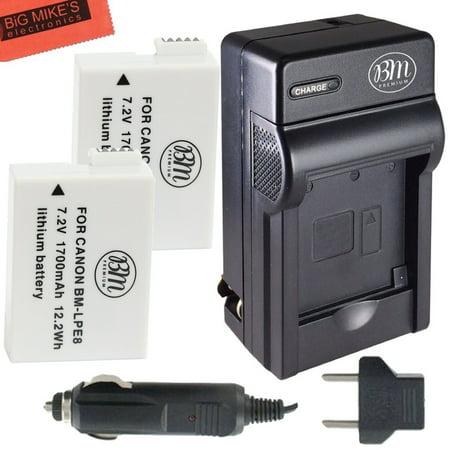 BM Premium 2-Pack of 2 LP-E8 Batteries and Charger for Canon EOS Rebel T2i,  T3i, T4i, T5i, EOS 550D, EOS 600D, EOS 650D, EOS 700D DSLR Digital Camera
