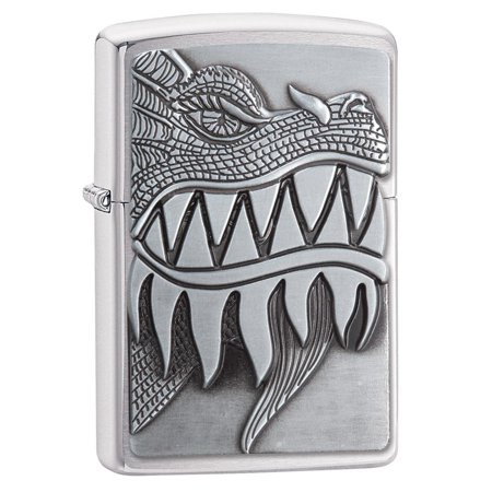 - ZIPPO FIRE BREATHING DRAGON EMBLEM BRUSHED CHROME LIGHTER