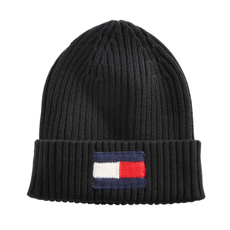 Tommy Hilfiger Mens Foster Flag Beanie Hat, Black, One Size