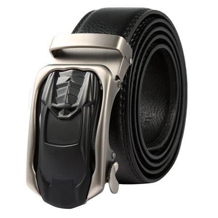 - Mens Belt-Vbiger Fashion Men Automatic Buckle Belt Classic Leather Ratchet Belt Trendy Sliding Buckle Ratchet Belt Casual Leather Waistband, Black