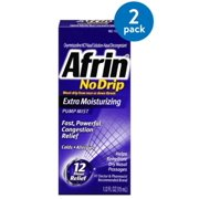 (2 Pack) Afrin No Drip Extra Moisturizing Pump Nasal Mist, Congestion Relief, 1ct