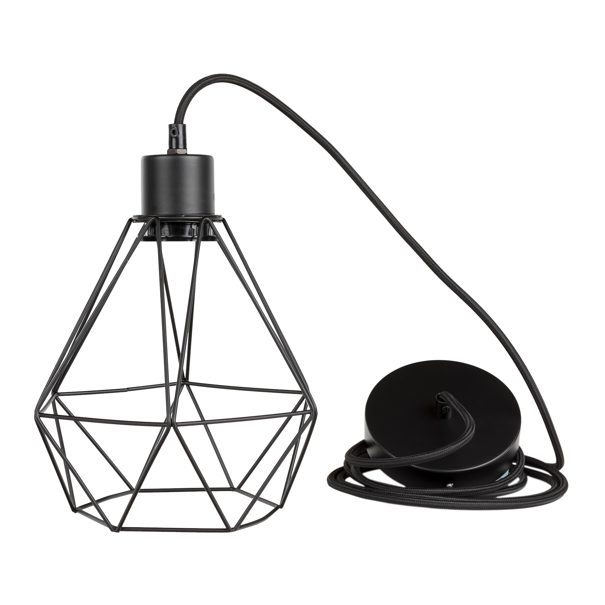 South Shore Plog It Black Hanging Lamp With Geometric Shade