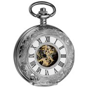 Akribos XXIV Mens Antique Mechanical Skeleton Chain Pocket Silver-Tone Watch