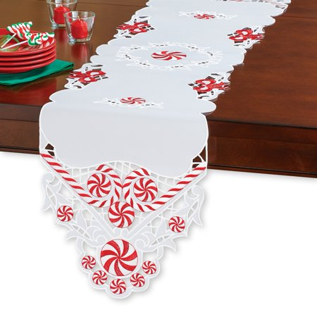 Peppermint Candy Elegant Christmas Table Linens, Runner - Candy Table Setup