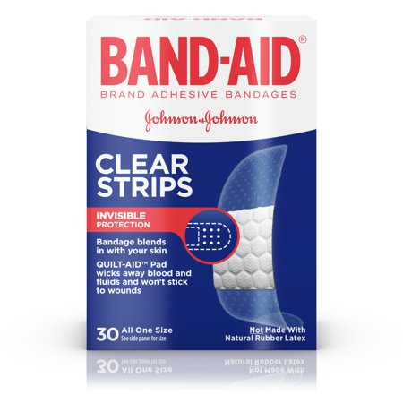 Strip Badges - Band-Aid Brand, Comfort-Flex Clear Strips Adhesive Bandages, 30 Count