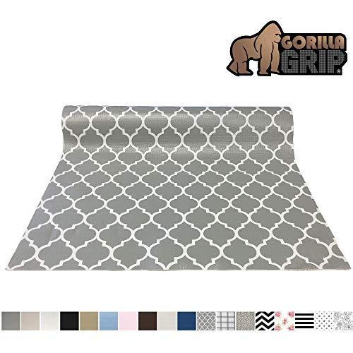 Gorilla Grip Original Premium Under Sink Mat Liner Non-Adhesive Absorbent Mats Bathroom Durable and Strong Waterproof Shelf Liners for Under Kitchen Sinks 24x30 Inch Quatrefoil Beige Linen