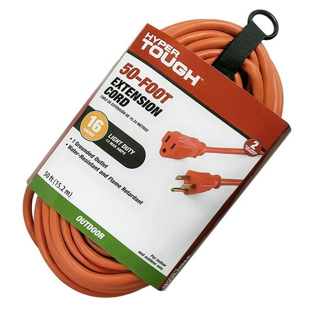 Hyper Tough 50FT 16AWG 3 Prong Orange Single Outlet Outdoor Extension Cord - Walmart.com - Walmart.com