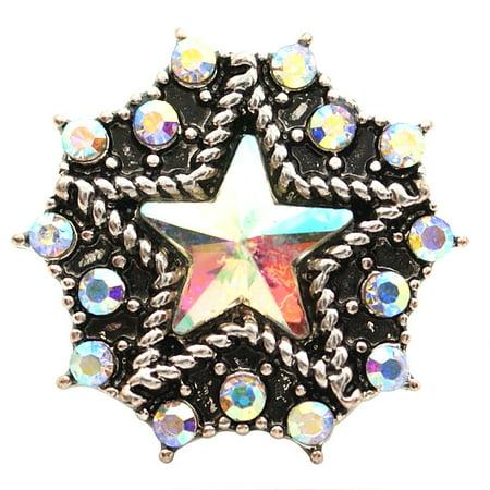 1 PC 18MM White Star Rhinestone Silver Snap Candy Charm kb6825 CC1650