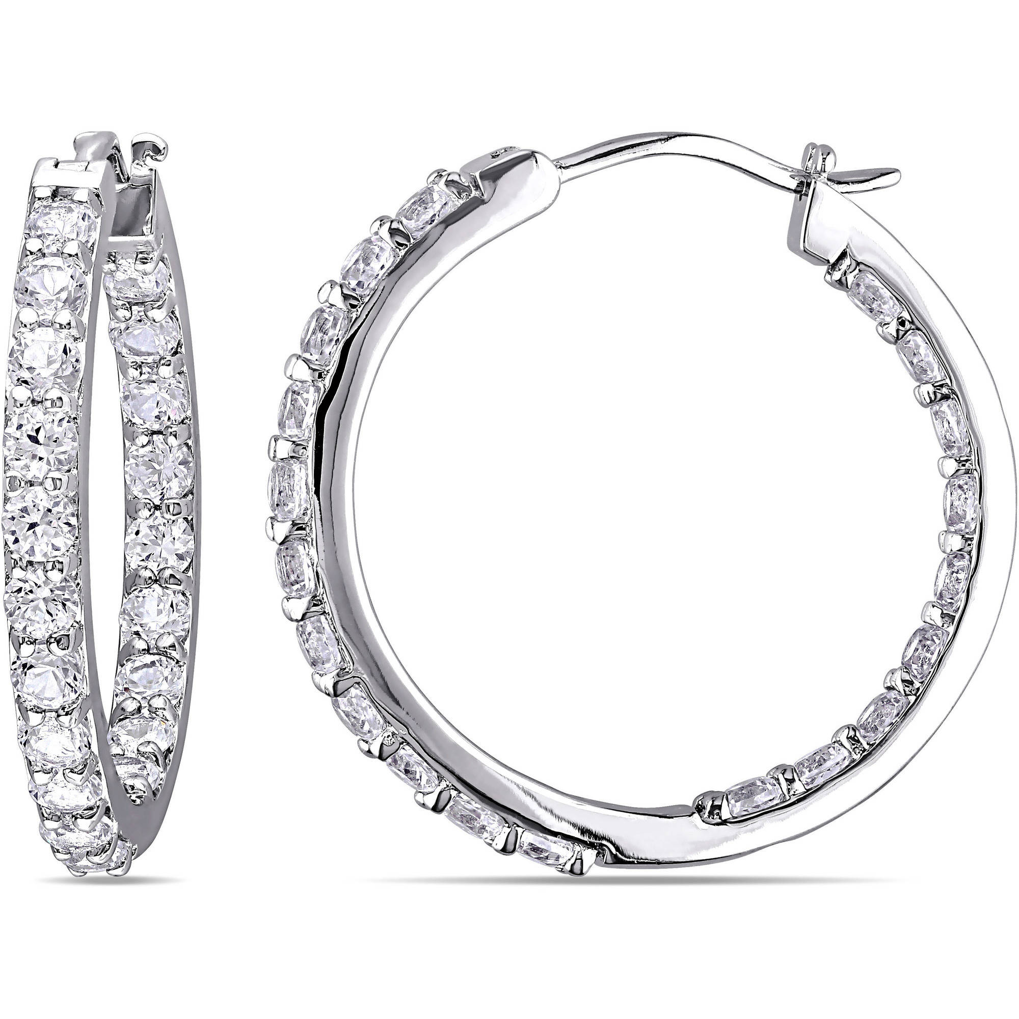Miabella 3.6 Carat T.G.W. White Sapphire Sterling Silver Hoop Earrings