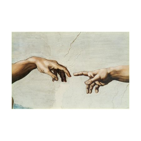 The Sistine Chapel; ceiling frescos after restoration. The creation of Adam. Print Wall Art By Michelangelo