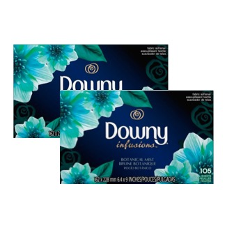 (2 Pack) Downy Infusions Botanical Mist Fabric Softener Dryer Sheets, 105 count