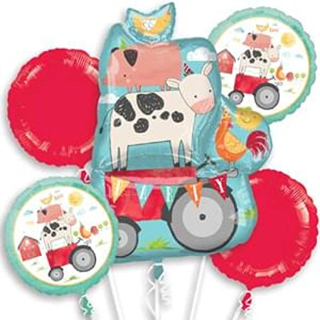 Barnyard Farm Animals Birthday Bouquet of Balloons, includes 5 foil balloons - Farm Animal Birthday Supplies