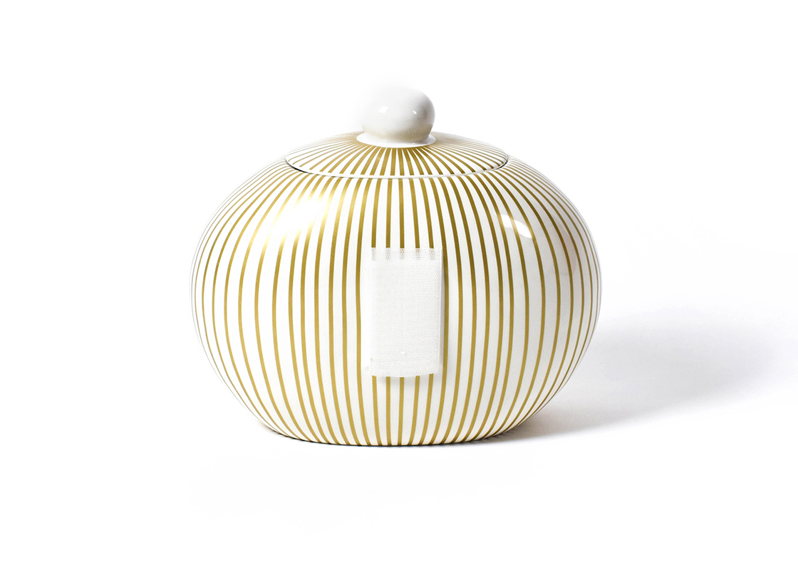 Coton Colors Happy Everything Big Gold Stripe Cookie Jar by