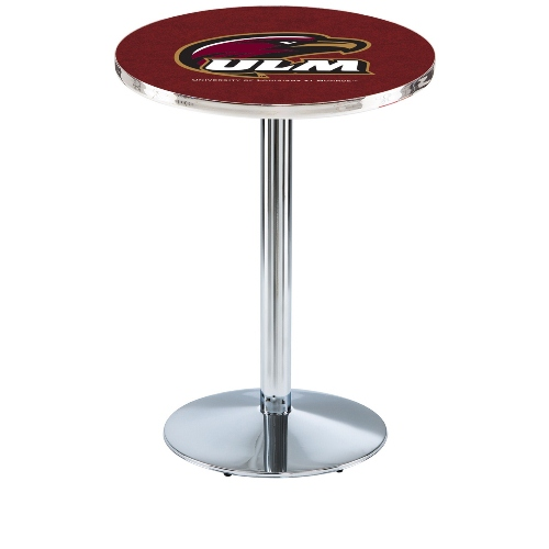 NCAA Pub Table by Holland Bar Stool, Chrome - ULM Warhawks, 42'' - L214