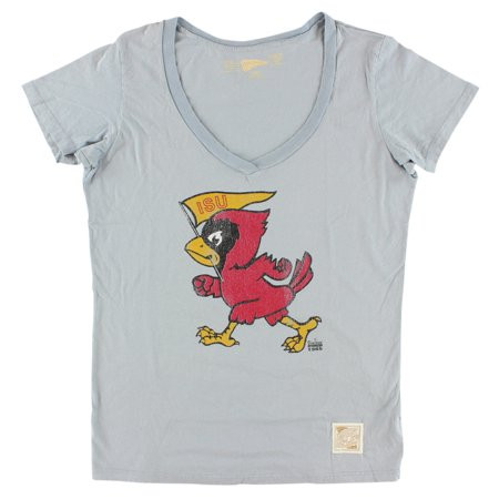 Distant Replays Womens Iowa State Cyclones College Deep V Neck T Shirt Light Blue