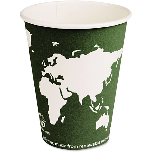 Eco-Products Steel Blue World Art Renewable Resource Compostable 12 Ounce Hot Drink Cups, 1000 Cups