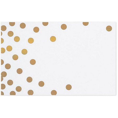Metallic Gold Dots on White Gloss Enclosure Cards / Gift Tags - 3-1/2in. x 2 1/4in. - 50 - Dots Gift Tags