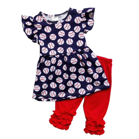 - So Sydney Girls Toddler Short Sleeve 4th of July USA Tunic Top Capri Pant Outfit