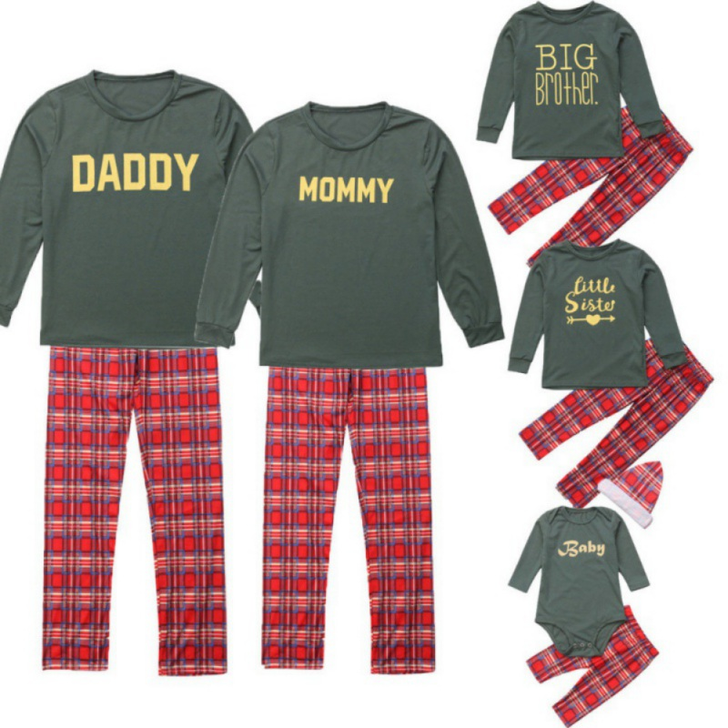 Fysho Family Matching Christmas Plaid Pajamas Sets Mom Dad Kids Baby Two piece Parent child Sleepwear Outfit