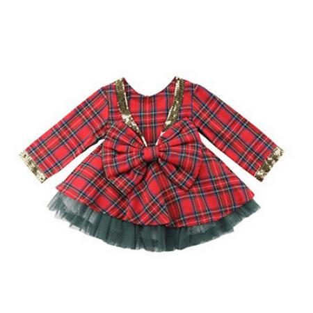 63bc913556ec Faithtur - Kids Baby Girl Christmas Clothes Long Sleeve Plaid ...