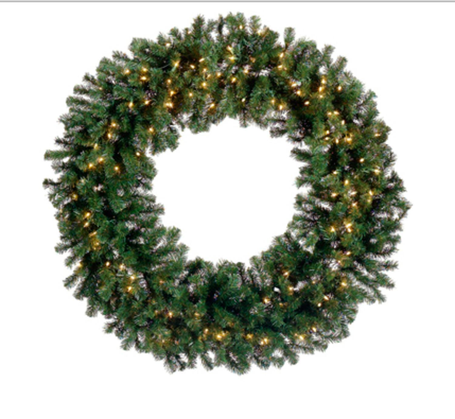 8' Pre-Lit Deluxe Windsor Pine Commercial Size Artificial Christmas Wreath - Clear Lights