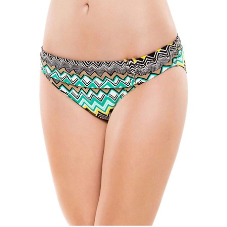 La Blanca Emerald Sahara Chevron Shirred Band Hipster Swim Bottom Size 12