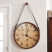 Hanging Decorative 24-in. Wall Clock with Faux Leather Strap